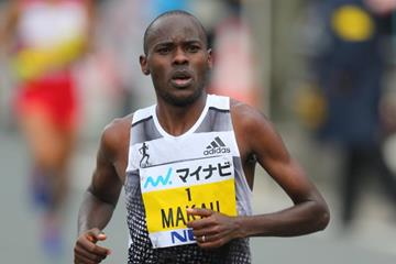 Patrick Makau on his way to victory at the 2014 Fukuoka International Marathon (Takefumi Tsutsui - Agence SHOT)