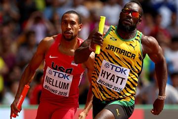 Dane Hyatt of Jamaica leads Bryshon Nellum of the USA in the 4x400m heats at the IAAF World Championships, Beijing 2015 (Getty Images)