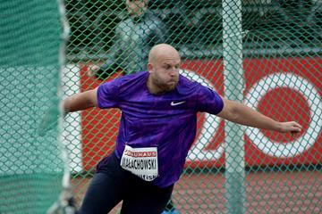Piotr Malachowski at the 2015 IAAF Diamond League meeting in Stockholm (Deca Text&Bild)