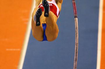 Doing what she does best: Yelena Isinbayeva winning the women's pole vault (Getty Images)
