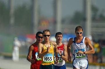 Alex Schwazer begins to break away from the leading pack during the men's 50km walk (Getty Images)