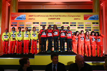 The women's team podium at the IAAF/Cardiff University World Half Marathon Championships Cardiff 2016 (Getty Images)