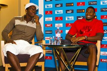 Dayon Robles and David Oliver at the Areva Meeting - Samsung Diamond League press conference, 7 July (Errol Anderson)
