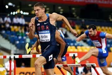 Trey Hardee winning the Heptathlon 60m Hurdles in Doha (Getty Images)