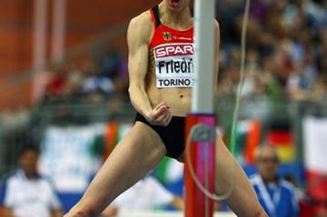 Ariane Friedrich roars with delight after clearing 2.01m (Getty Images)