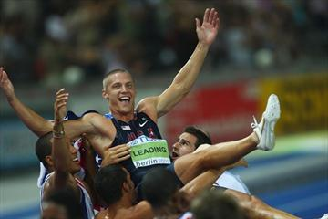 After two grueling days of competition Trey Hardee of the United States is picked up by his competitors following his win in the men's Decathlon in Berlin (Getty Images)