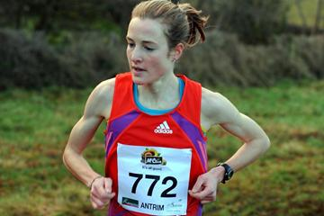 Fionnuala Britton on her way to victory at the Antrim International Cross Country 2013 (Mark Shearman)