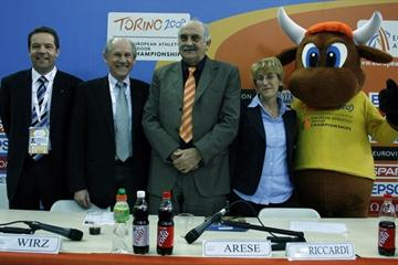 Christian Milz, Hansjörg Wirz, Franco Arese and Anna Riccardi at the LOC press conference in Turin (Bob Ramsak)