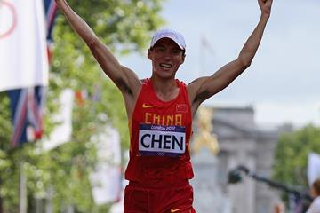 Chen Ding of China celebrates as he wins gold in the 20km Race Walk at the London 2012 Olympics (Getty Images)