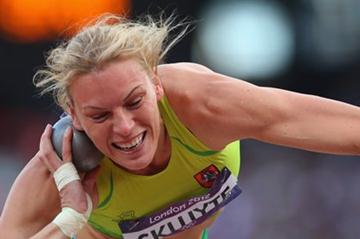 Austra Skujyte of Lithuania competes in the Women's Heptathlon Shot Put on Day 7 of the London 2012 Olympic Games at Olympic Stadium on August 3, 2012 in London (Getty Images)