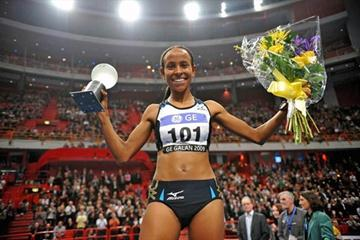 Meseret Defar after her win in Stockholm (Hasse Sjögren)