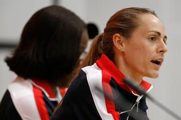 Jenny Simpson at the US team press conference ahead of the IAAF World Championships, Beijing 2015 (Getty Images)