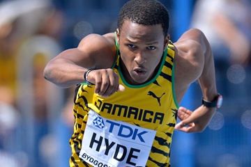 Jaheel Hyde in the 400m hurdles at the IAAF World U20 Championships Bydgoszcz 2016 (Getty Images)