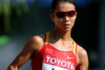 Liu Hong in the 20km race walk at the IAAF World Championships, Beijing 2015 (Getty Images)