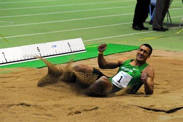 Ashton Eaton long jumping in the Tallinn International Indoor Combined Events Meeting on Saturday 5 Feb 2011 (Marko Mumm / Estonian Athletics Association)