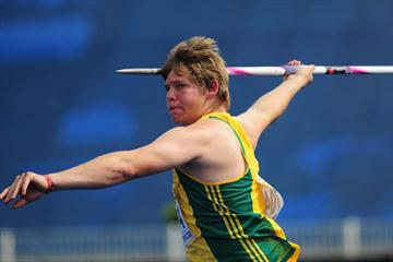 Reinhard Van Zyl of South Africa the World Youth Javelin Throw champion (Getty Images)