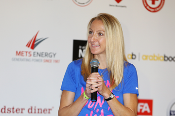 Race ambassador Paula Radcliffe at the press conference for the Beirut Marathon (Organisers)