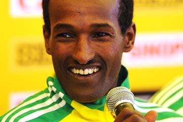 Defending men's champion Imane Merga (ETH) at the official IAAF Press Conference for the 40th edition of the IAAF World Cross Country Championships in Bydgoszcz, Poland, Saturday 23 March (Getty Images)