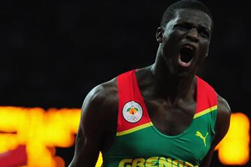 Kirani James of Grenada reacts after he crosses the finish line to win the gold medal in the Men's 400m final on Day 10 of the London 2012 Olympic Games on 6 August 2012 (Getty Images)