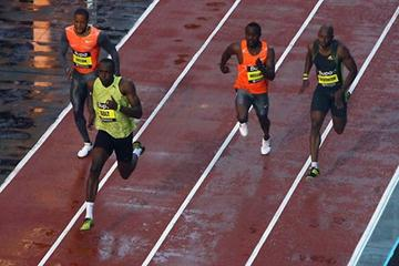 Usain Bolt leads the BUPA Great City Games 150m (Getty Images)