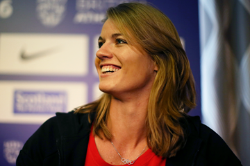 Dafne Schippers at the press conference ahead of the Glasgow Indoor Grand Prix (Getty Images)