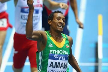 800m winner Mohammed Aman at the 2014 IAAF World Indoor Championships in Sopot (Getty Images)