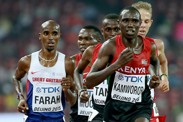 Geoffrey Kamworor and Mo Farah at the IAAF World Championships Beijing 2015 (Getty Images)