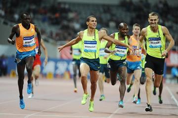 Robert Biwott (left) wins the 800m at the 2014 IAAF Diamond League meeting in Shanghai (Errol Anderson)