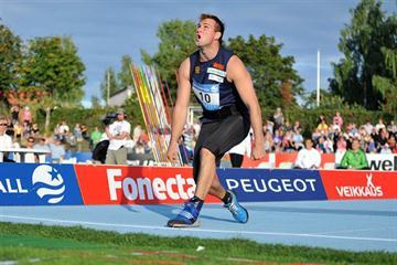 Sampo Lehtola improves to 83.77m in Lappeenranta to earn his Daegu team spot (Petri Krook)