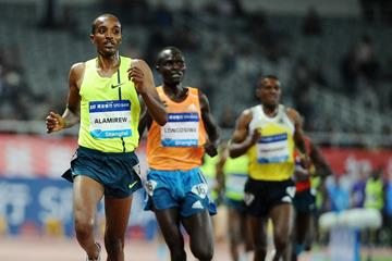 Yenew Alamirew wins the 5000m at the 2014 IAAF Diamond League meeting in Shanghai (Errol Anderson)