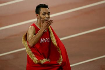 Abdalaati Iguider after taking bronze in the 1500m at the IAAF World Championships, Beijing 2015 (Getty Images)