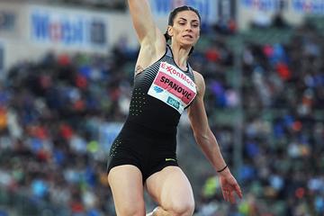 Long jump winner Ivana Spanovic at the IAAF Diamond League meeting in Oslo (Mark Shearman)