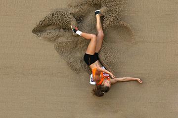 Nadine Visser during the long jump in Beijing ()