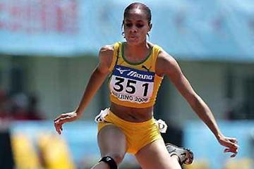 Kaliese Spencer of Jamaica in the 400m Hurdles heats (Getty Images)