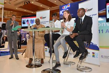 IAAF president Lamine Diack, Jackie Joyner-Kersee, Alessia Trost and Wilson Kipketer at the launch of Athletics for a Better World (IAAF)