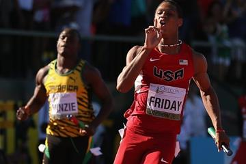 Trentavis Friday anchors the US 4x100m team to gold at the IAAF World Junior Championships, Oregon 2014 (Getty Images)