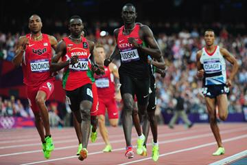 David Rudisha leads Duane Solomon, Abubaker Kaki and Andrew Osagie to win gold and set a World record in the 800m at the London 2012 Olympics (Getty Images)