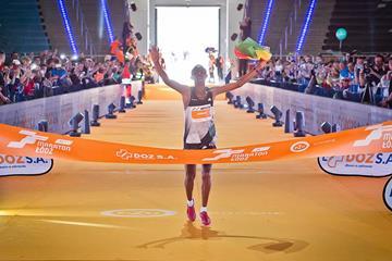 Abraraw Misganaw winning 2016 Lodz Marathon (Sportografia.pl / organisers)