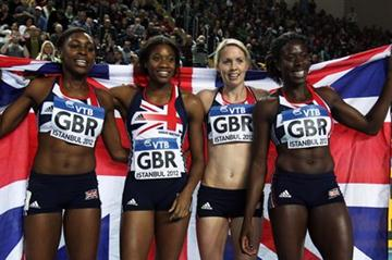 (L-R) Perri Shakes-Drayton, Shana Cox, Nicola Sanders and Christine Ohuruogu of Great Britain celebrate as they win gold in the Women's 4x400 Metres Final during day three - WIC Istanbul (Getty Images)
