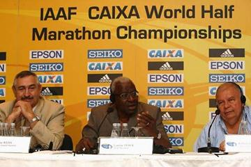 (L-R) IAAF General Secretary Pierre Weiss, IAAF President Lamine Diack, and Roberto Gesta de Melo, Brazilian Athletics Confederation and LOC President and IAAF Council Member (Getty Images)