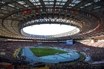 General view of the Luzhniki Stadium during the women's 4x400m final at the 2013 IAAF World Championships in Moscow (Getty Images)