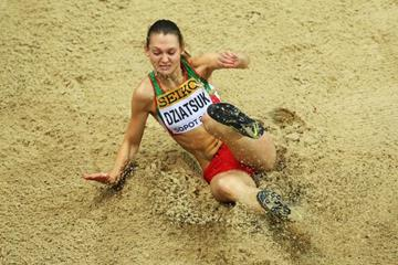 Ksenia Dziatsuk of Belarus in the triple jump qualifying at the 2014 IAAF World Indoor Championships in Sopot (Getty Images)