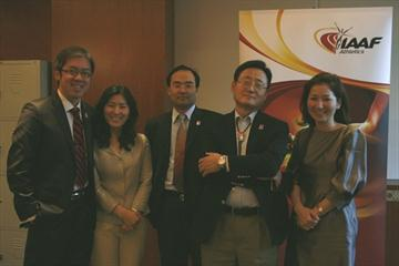 Members of the Daegu 2011 LOC team in Doha (Bob Ramsak)