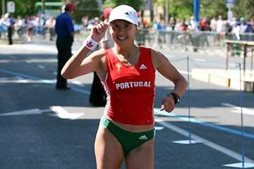 Susan Feitor leads home a surprise team title for Portugal - women's 20km, Miskolc, Hungary (Tim Watt)