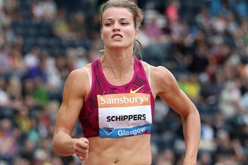 Dafne Schippers winning the 200m at the 2014 IAAF Diamond League meeting in Glasgow (Victah Sailer)