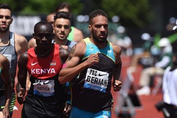 Boris Berian in the men's 800m at the 2016 IAAF Diamond League meeting in Eugene (Kirby Lee)