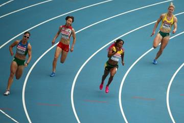 Action shot in the womens 200m at the IAAF World Championships Moscow 2013 (Getty Images)