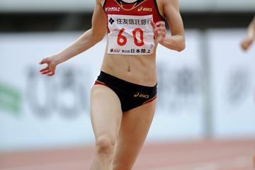 23.00 Japanese national record for Chisato Fukushima in Hiroshima (PHOTO KISHIMOTO Keisuke KOITO)