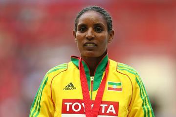 Ethiopia's Belaynesh Oljira on the podium at the 2013 IAAF World Championships (Getty Images)