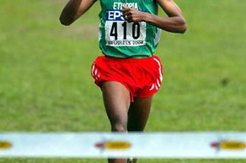 Bekele signals the win as he crosses the finish (Getty Images)